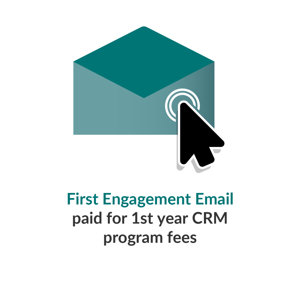 Infographic with an open envelope and arrow describing the benefits of email engagement