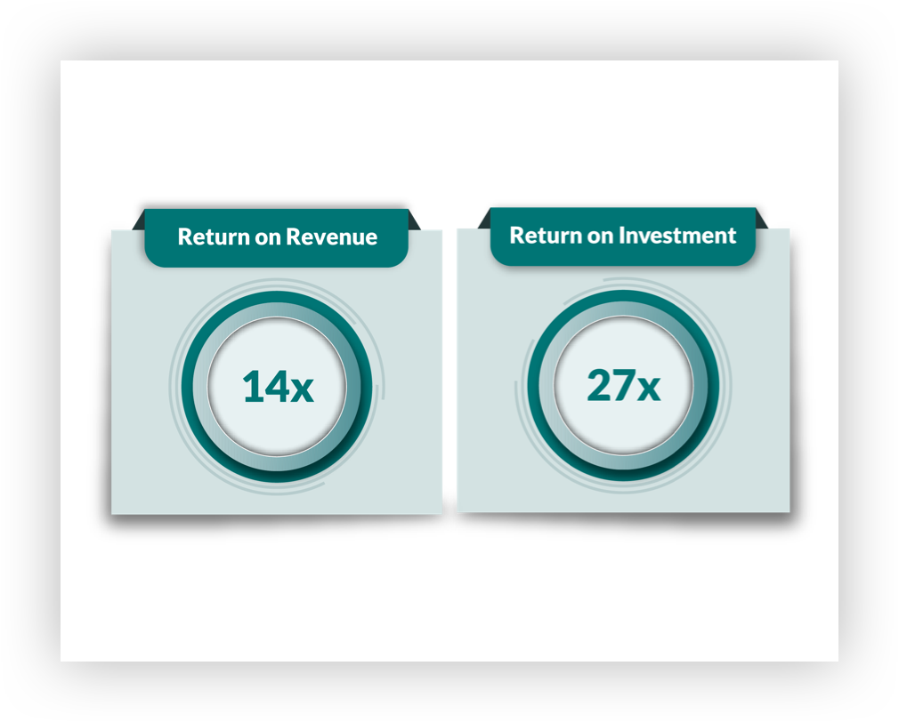 Infographic showing rates on return on revenue and return on investment