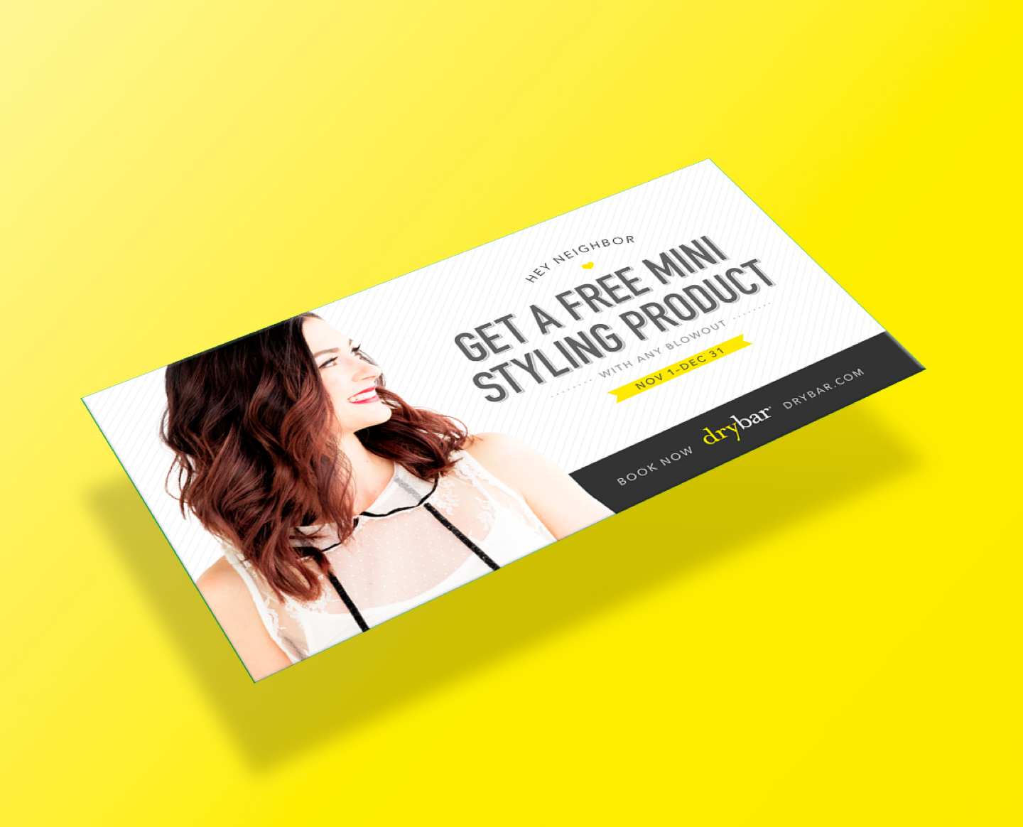 Image of postcard for Drybar advertising discounts